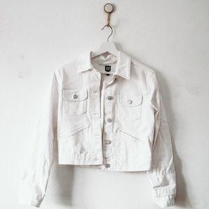 Gap White Cropped Denim Jacket